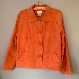 Studio Works orange faux suede jacket pockets 16